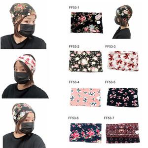 Yüz maskesi düğmesi Headbands Kız Hediye Saç Aksesuarları Parti iyilik FFA3950 için spor Yoga Egzersiz Yumuşak çiçek şapkaya baskı