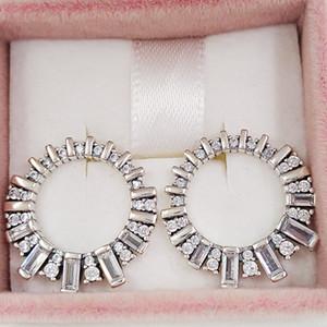 Authentische 925 Sterling Silber Ohrstecker Glacial Schönheit Tropfen-Ohrringe, Klar Cz Passend europäischen Pandora Style Ohrstecker Schmuck 297545CZ