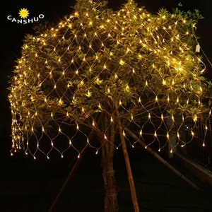 New 6Mx4M 3Mx2M 1.5Mx1.5M LED Fishing Net Mesh Fairy String Net Lights Ceiling Christmas Party Wedding Outdoor Decoration lamps Y200603
