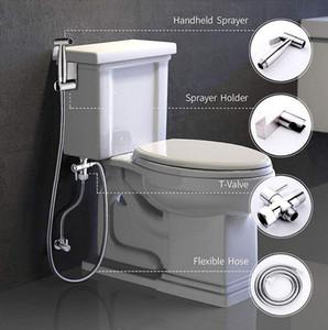 Yüksek Kaliteli Banyo Hand Held Tuvalet Bide Püskürtme Douche SHATTAF Duş Paslanmaz Çelik Hortum Tutucu Seti Fırçalı Nikel Finish Spray