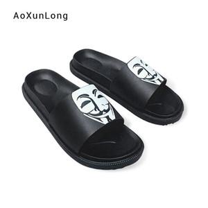 AoXunLong erkek Terlik Ev Çevirme V Yüz Maskesi Plaj Sandalet Moda Siyah Kapalı Düz Terlik Erkek Düz Plaj ayakkabı