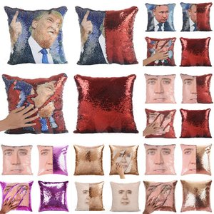 Trump Sequin Mermaid Kopfkissenbezug DIY Reversible Sofa-Auto-Dekor Kissenbezug Home Office Weihnachtsdekoration WX9-1590