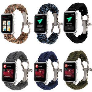 Bandes de nylon sports de plein air dragonne pour Apple Watch bande 42mm 38mm corde de survie en métal Bolt Clasp fermoir pour iWatch 1 2 3
