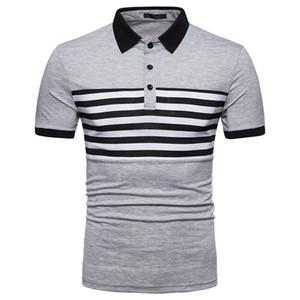 Hombres de diseno de rayas remiendo Polos camisetas de manga corta casuales de la manera delgada gira el collar abajo Mens Tops