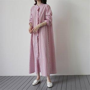 LANMREM LANMREM 2020 neue Sommermode Frauen lose große kniehohen Kleid Mode Rüschen gestreifte Kleider kleiden WL92505XL