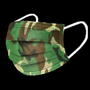 Camouflage Imprimer non tissé à usage unique de protection 3PLI oreille boucle visage bouche Masque 3 couches anti-poussière PM2,5 anti-poussière adultes Chapeaux de fête DHB801