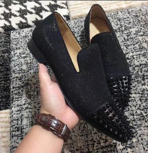 Schwarzes Glitter-Leder mit Spikes-Fußschuhen Luxuriöse rote untere Müßiggänger-Schuhe Gentleman-Qualitäts-Partei-Hochzeit der Männer mit Kasten, EU35-4