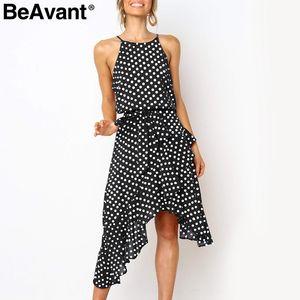 Beavant elegante polka dot imprimir as mulheres se vestem halter assimétrico babados vestidos de verão feminino holiday beach wear vestidos de damas
