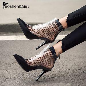 Haoshengirl 2020 novo transparente mulheres botas de verão de moda de salto alto Ankle Boots Point Toe senhoras de plástico Sexy botas