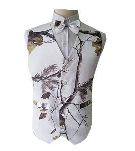 2019 White Real Tree Camo Mens Hochzeitswesten Oberbekleidung Groomsmens Westen Realtree Frühling Camouflage Slim Fit Herren V-Ausschnitt Westen Maßarbeit