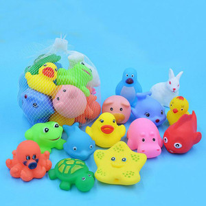 Mixed Animals Swimming Water Toys Colorful Soft Floating Rubber Duck Squeeze Sound Squeaky Bathing Toy For Baby Bath Toys