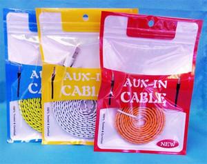 10.5 * 15cm Reißverschluss Kleinpaket Boxen Aux Audiokabel OPP Verpackung Beutel aus Kunststoff PVC Poly Paketboxen für AUX-Audio-Kabel