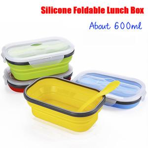 Une couche de silicone pliable Rectangle Lunch Box-Type Extension Réfrigérateur Conteneur scellé micorwave Four Bento Bowl Pliable Crisper