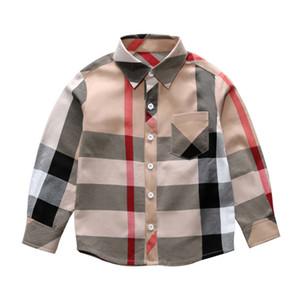 Venda quente moda menino crianças roupas 3-8y primavera nova manga longa grande xadrez t shirt marca padrão lapela menino camisa atacado kjy766