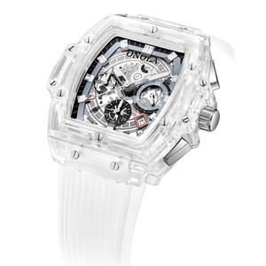 ONOLA moda reloj de los deportes de los hombres 2019 de plástico transparente unisex de cuarzo para hombre mira blanco Masculino Relógio
