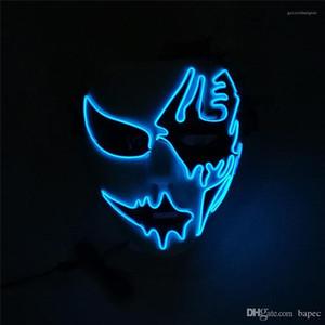 Светодиодная светящаяся Маска унисекс и свободный размер Хэллоуин Маска уличный танец ручная роспись смешное платье партии