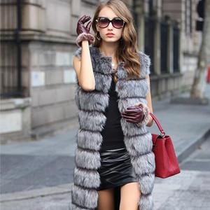 NEW Winter Faux Fur Vest For Women Long Solid Female Artificial  Fur Vest Qualified Warm Palka Snow Overcoat DC818