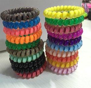 SUNMA 26 cores 6,5 centímetros de alta qualidade Telefone Fio cabo Gum cabelo Laço Meninas Elastic cabelo corda banda anel dos doces cores pulseira elástico Scrunchy