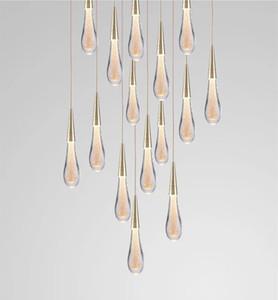 2019 뜨거운 디자이너 LED 물방울 펜던트 빛 미니멀리스트 스칸디 나비아 로프트 Crystal Hanging Lamp Creative Restaurant Light