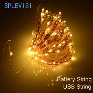 2m 3m 5m 10m Usb / Alimentation par batterie puissance LED lumières de Noël cuivre cordes Guirlande lumineuse Garland vacances de mariage Décor