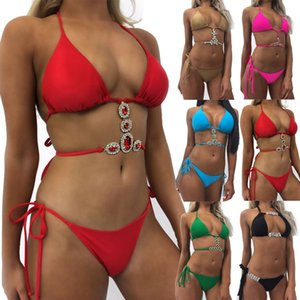 Damen Pailletten Strass Crystal Diamond Push-up Bikini Set Badeanzug Bademode