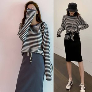 2019 autumn and winter new loose striped long-sleeved sweater jacket skirt skirt hip two-piece female tide CX200702