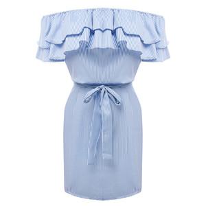 Vestidos das mulheres lossky listrado verão dress plissado gola 2018 bandage vestido de verão ocasional sexy bodycon summer dress vestido de festa