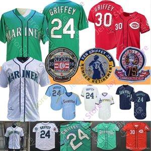 Ken Griffey Jr Jersey 1995 1997 Coopers cidade Baseball 2016 Hall Of Fame mancha vermelha Riscas Teal Verde Cinzento Branco