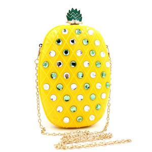 Diseñador-caliente! Diseñado partido de las mujeres de plástico acrílico de tarde del bolso de embrague de piña diamante bolso de lentejuelas de frutas con la cadena del hombro - RBL