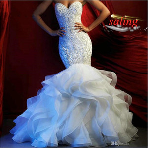 Splendida Mermaid abiti da sposa di Blingbling perline di cristallo appliquéd Sweetheart Tiered Skirts nuziale Gowns Robe de mariée