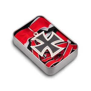 1813-1939 Almanya Çapraz Madalyası Askeri Şövalye Meşe Yaprak Kılıçlar Demir Haç Pin Badge ile Kırmızı Kurdeleler Box koruyun