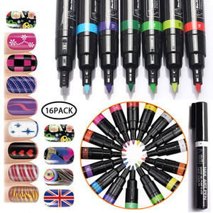 16 colores Set Nail Art Pen 3D Nail Art DIY Decoración Nails Polish Pen Set Design Nails Beauty Tools Paint Pen Supplies