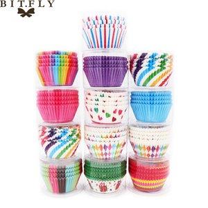 BITFLY 100Pcs Gökkuşağı Cupcake Kağıdı Gömlekleri Muffin Kılıfları Kupa Kek Topper Pişirme Tepsi Mutfak Aksesuarları Pasta Dekorasyon Araçları Y200618