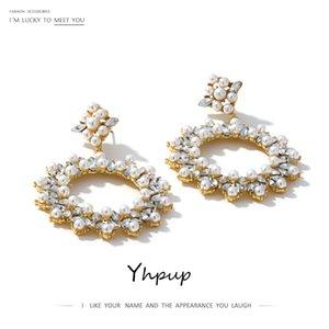 Yhpup Trendy Harzrhinestone baumeln Ohrringe runde hohle nachgemachte Perlen Brincos Oorbellen Frauen Party Accessories