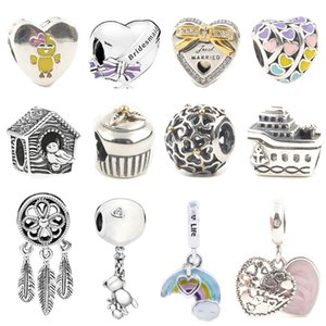 925 Sterling Silver Bird House Chick Feather Charms fit Pandora Original Pulsera S925 Steam Ship Cake Heart Beads Regalo