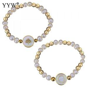 Arbre en acier inoxydable de vie Bijoux Bracelet à breloques pour les femmes en plastique blanc perle Bracelets Shell Or Couleur Perles unisexe
