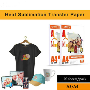 impresora de inyección de tinta 100 hojas de papel de transferencia por sublimación caliente A3 / A4 no sean de algodón papel luz de color camiseta de transferencia de calor de secado rápido pap hornear