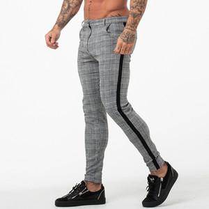Imprimir la tela escocesa de pantalones para hombre del diseñador de moda para hombre flaco con paneles de botones lápiz Correr pantalones casuales hombres Ropa
