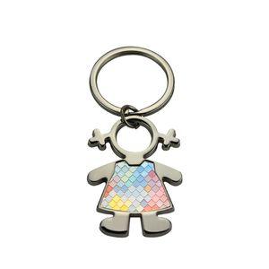 Key Chain 10 PCS / Lot di vendita al dettaglio metallo del ragazzo della ragazza Portachiavi per stampa di sublimazione in lamiera di alluminio con confezione di vendita Box