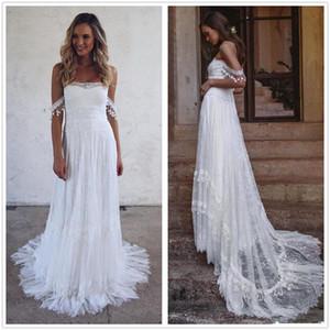 2020 New Bohemian Summer Beach Vestidos de casamento fora do ombro Lace Boho vestidos de noiva vintage francês vestido de noiva vestido de noiva 4618