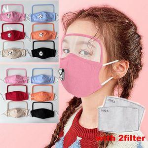 máscara designer de cara com transparente olho filtro escudo 2 crianças enfrentam máscara de cor muti pano reutilizáveis máscara boca lavável para o menino e gril