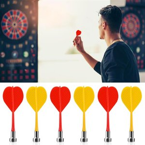 10pcs / set Manyetik Dart Değiştirme Dayanıklı Güvenli Dart Plastik Kanat Dart Bullseye Hedef Oyun Oyuncak Kırmızı Sarı