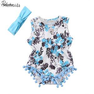 Pudcoco 2ST Neugeborene Baby-Kleidung Baumwolle mit langen Ärmeln Stirnband Bodysuit Outfits 6-24months Pudcoco