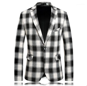 Neck Outerwear Winter Male Coat with Single Breasted Men Designer Plaid Printed Blazers Casual Men Lapel