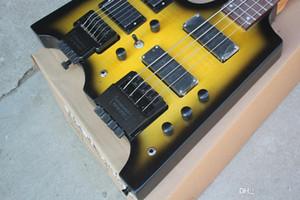 Factory Custom 6 + 4 Strings yellow Headless Double Neck E-Gitarre mit Floyd Rose, 24 Bünde, bietet maßgeschneiderten Service
