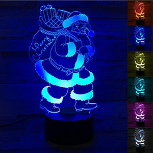 Père Noël snowsman arbre de noël 3D lampe Christams LED Night Light changement de couleur LED Touch Switch Light pour la décoration de Noël enfants