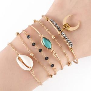 6 Pcs Set Yeux Boho Shell Lune Noire Perles Chaînette Ajustable Set Bracelet en or pour les femmes du Parti Bracelets de bijoux fantaisie