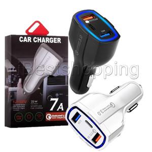7A 35W 3 puertos del cargador del coche Tipo C y USB cargador de CC 3.0 Con la tecnología Quick Charge 3.0 para PC teléfono móvil GPS banco de la energía de la tableta