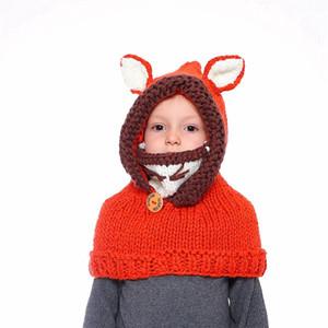 RRA2476 favor caliente niños de dibujos animados de Fox tejer sombrero del bebé del invierno suéter hecho punto fiesta de Navidad Beanie niños ganchillo sombreros