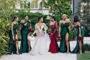 Элегантная Дешевая Линия Платья Подружки Невесты Четыре Стиля С Плеча Длиной До Пола С Разрезом Сексуальные Платья Подружки Невесты Вечерние Платья